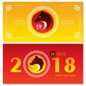 80630952 - chinese new year greeting cards. 2018 year of the yellow dog. vector illustration.